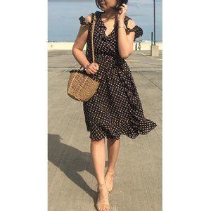 LOFT Faux Wrap Chiffon Floral off black Dress
